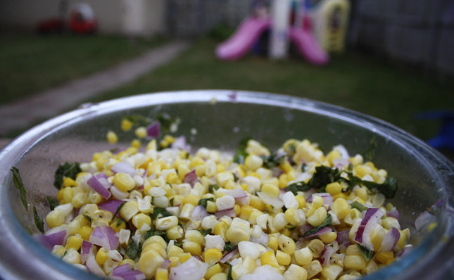 Fresh Corn Salad with Basil