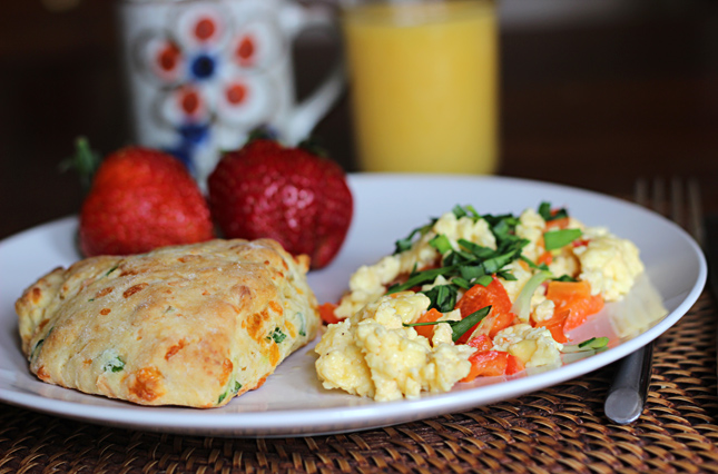 Cheddar Chive Buttermilk Biscuits with Extra Creamy Scrambled Eggs