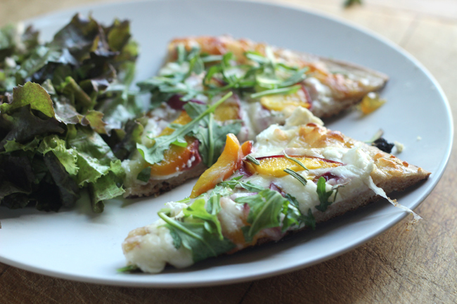 Goat Cheese, Peach, Arugula, Fig, & Rosemary Pizza with Fig Preserves