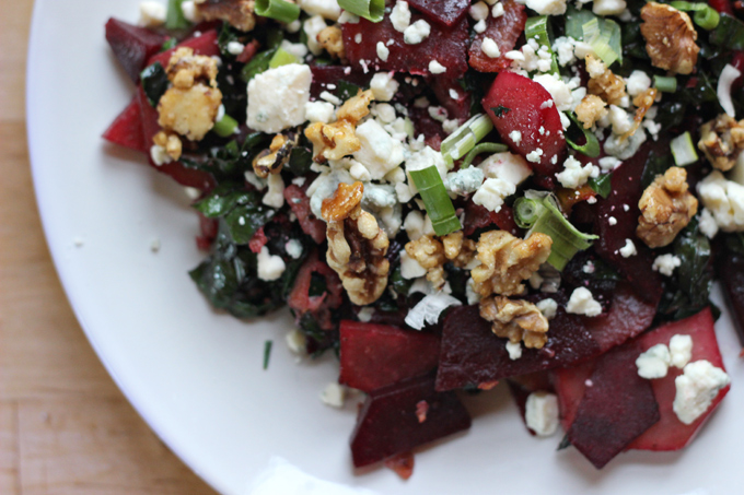 Roasted Beet Salad with Bacon, Swiss Chard, and Bleu Cheese