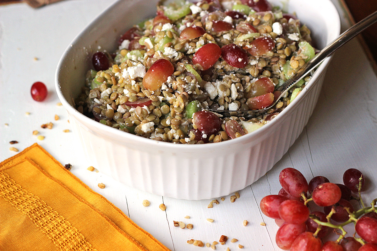 Grape, Feta, Walnut, & Celery Lentil Salad