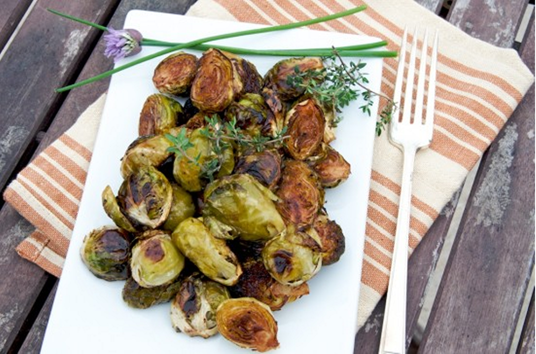 "... , Roasted Grape ""Bruschetta,"" & Balsamic Roasted Brussels Sprouts"