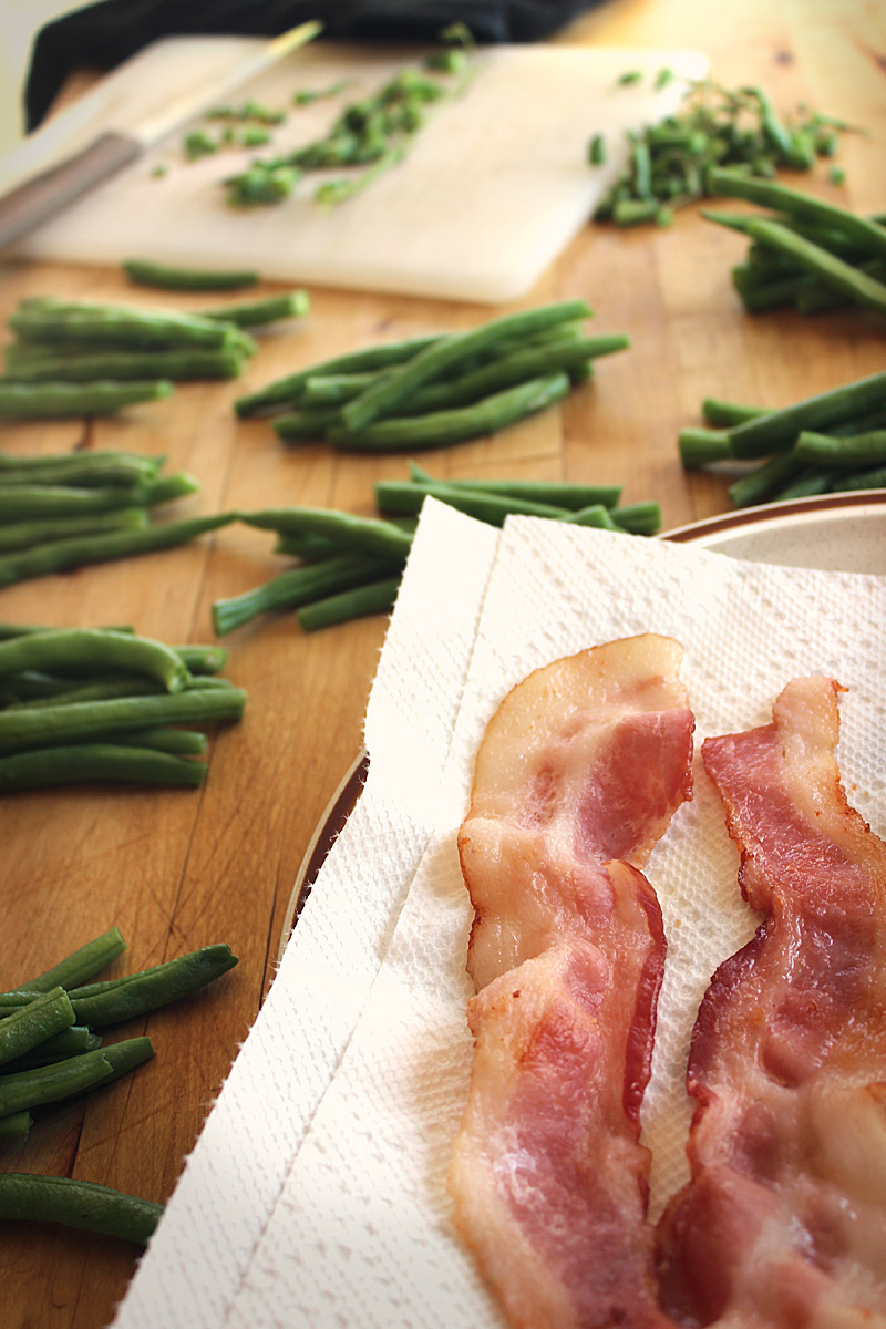bacon and  green-beans