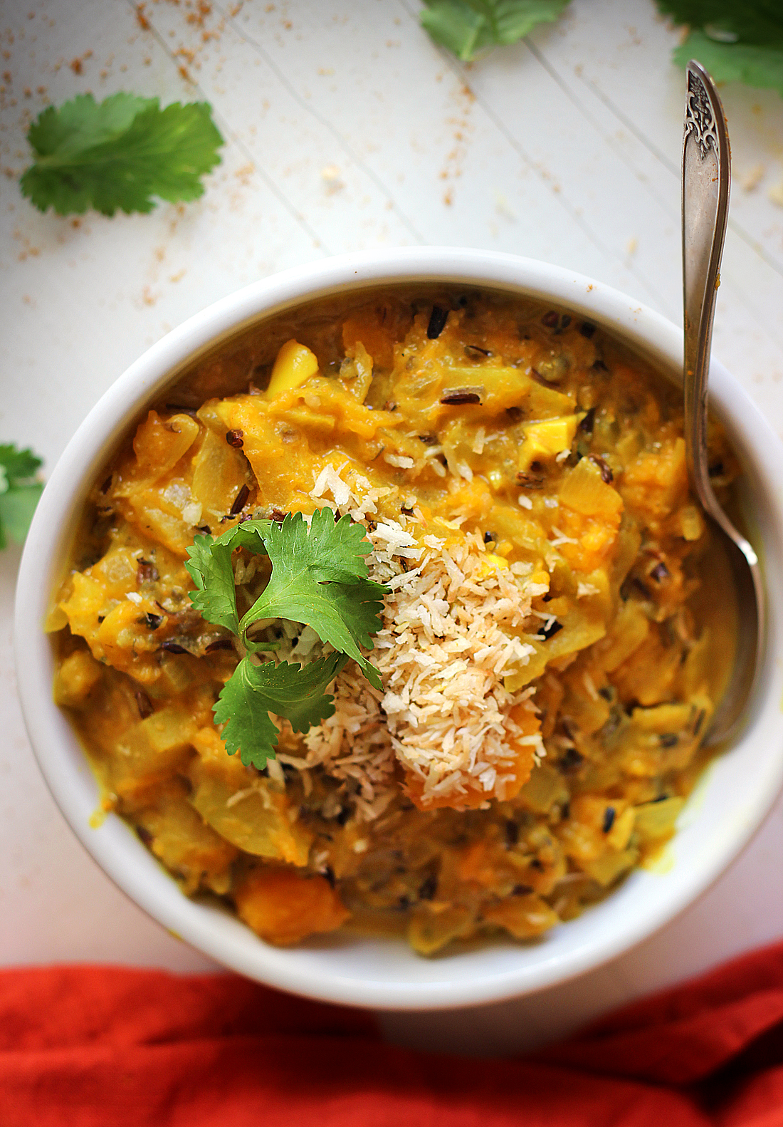 Coconut Curry Squash Soup with Apples and Wild Rice