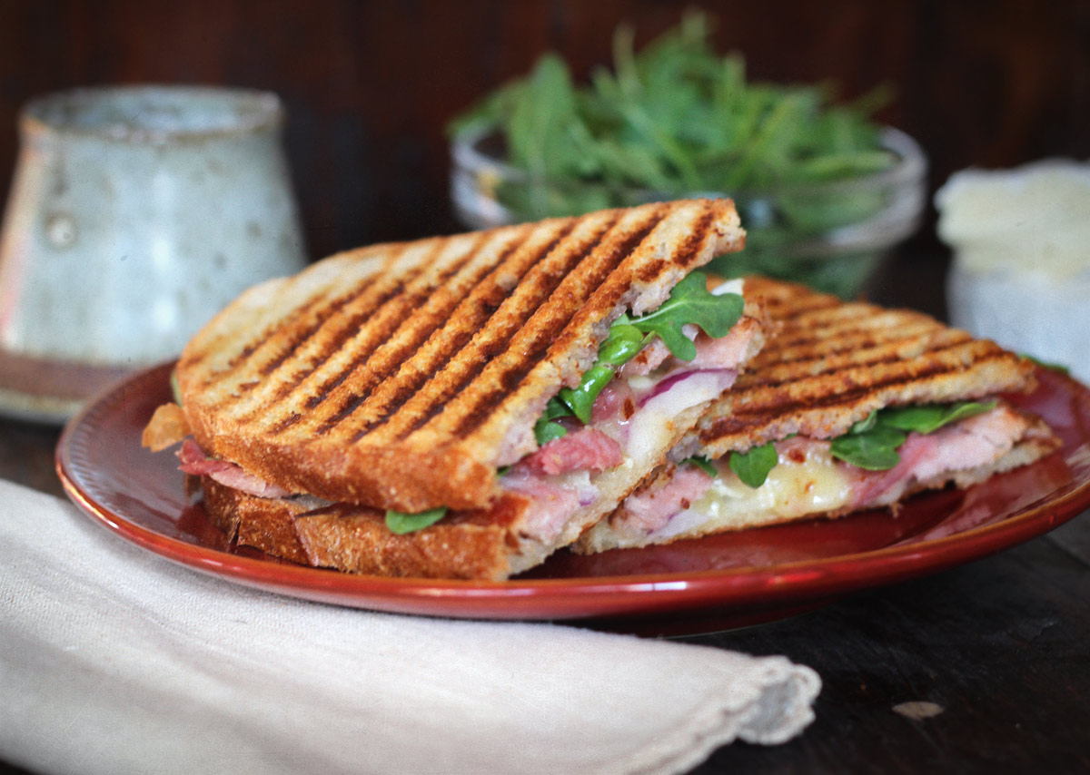 The Hamembert: Ham and Camembert Cheese Panini with jam and arugula