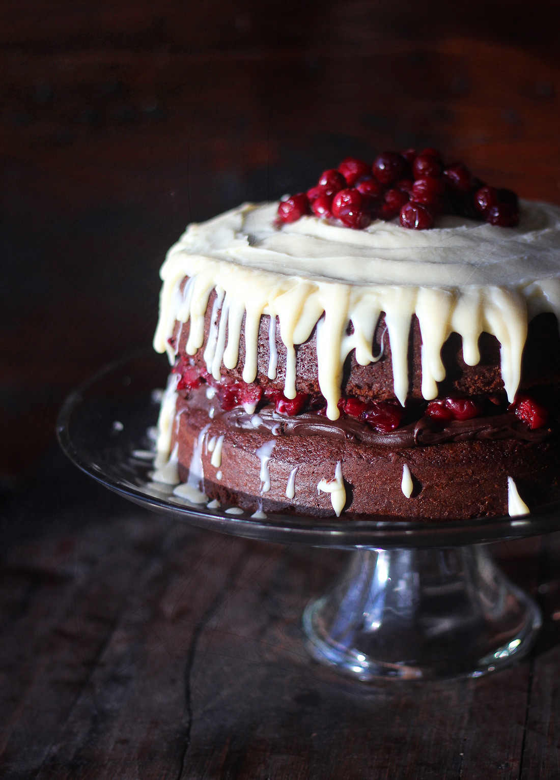 Triple Chocolate Layer Cake with Maple Roasted Cranberries