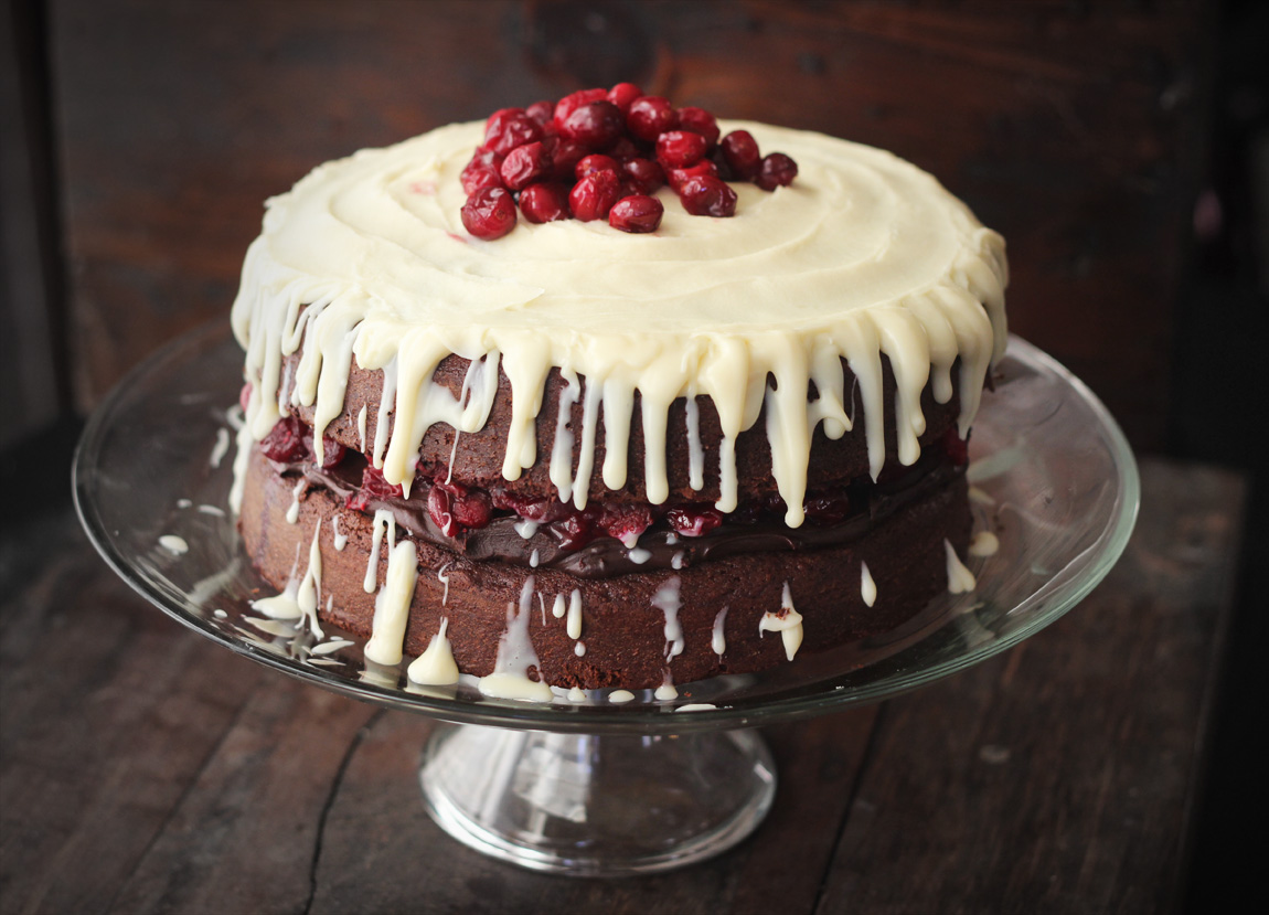 Triple Chocolate Layer Cake with Maple-Roasted Cranberries