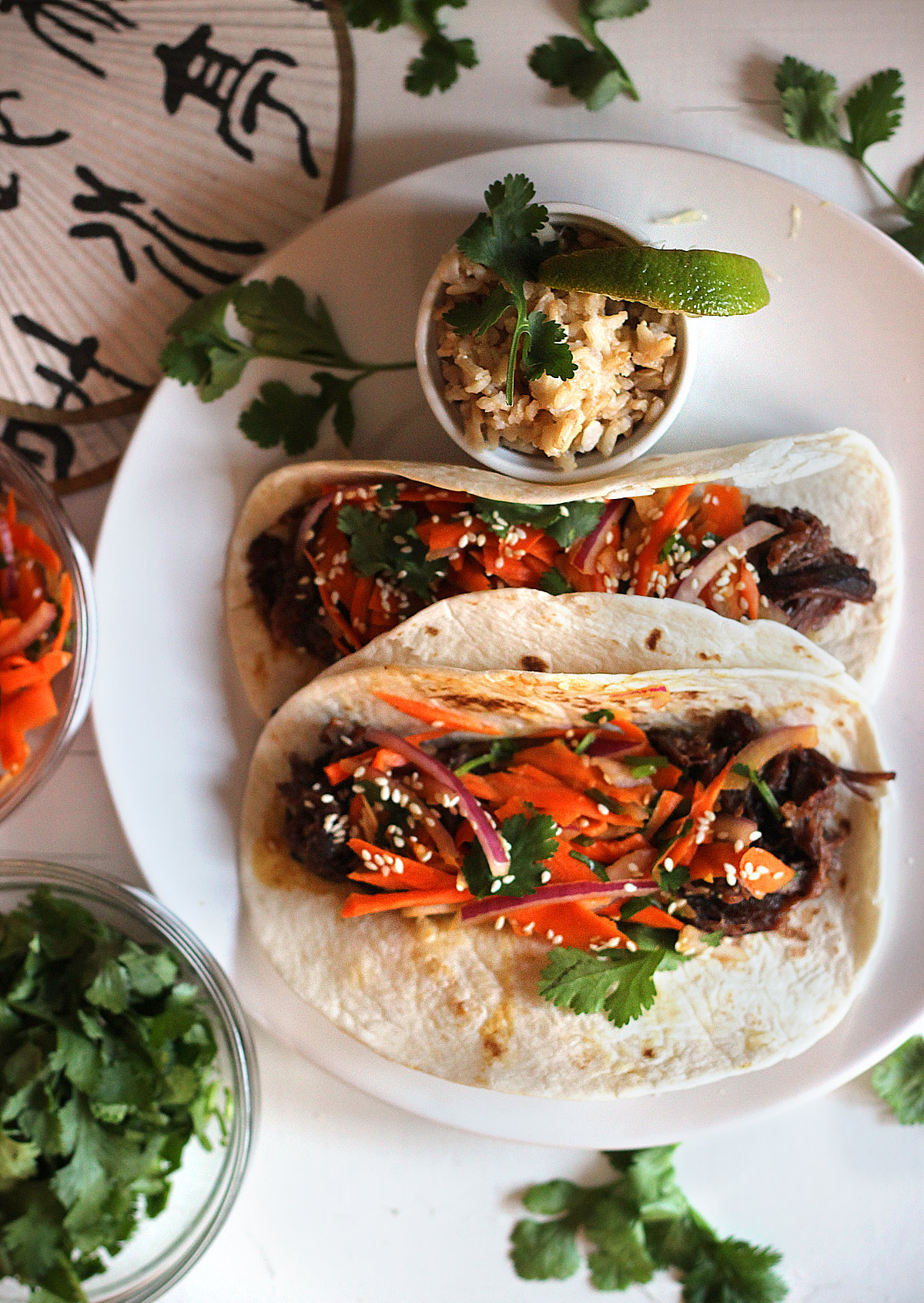 Crockpot Korean Beef Rid Tacos with Asian Slaw