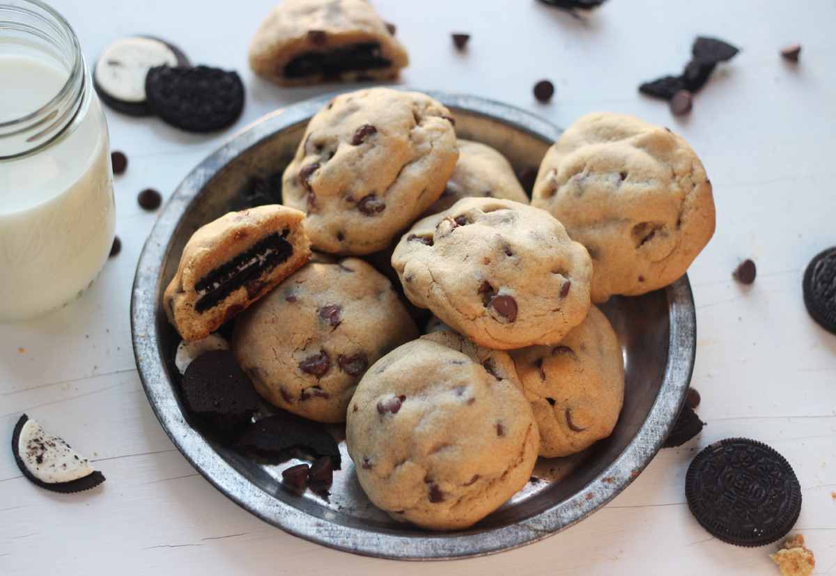 Oreo Stuffed Peanut Butter Chocolate Chip Cookies