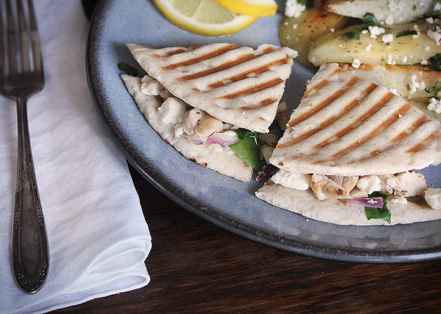 Greek Chicken Pita Panini