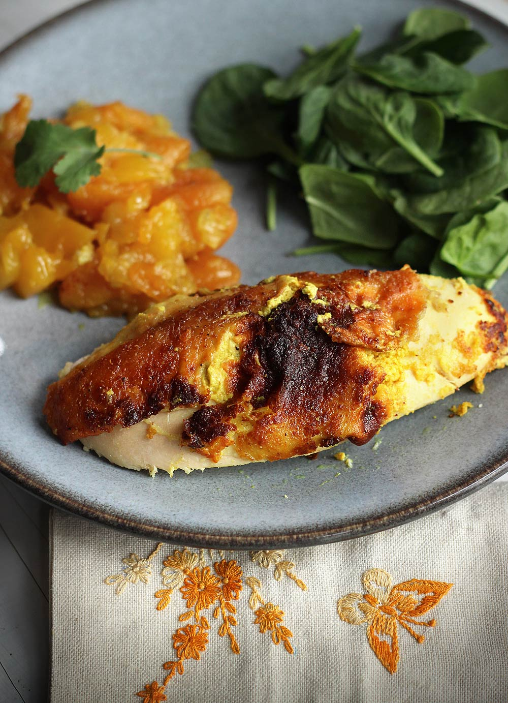 Roast Chicken stuffed with Indian-Spiced Goat Cheese
