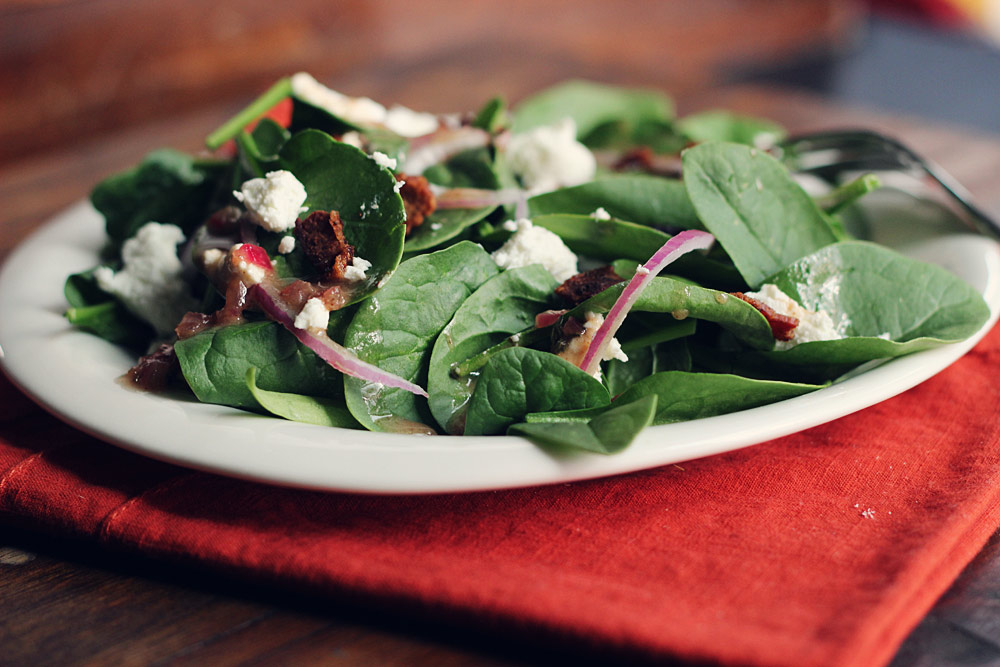 Bacon-Vinaigrette-Goat-Cheese-Spinach-Salad