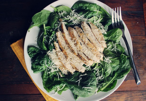 Easy Lemon Herb Chicken (over spinach salad)