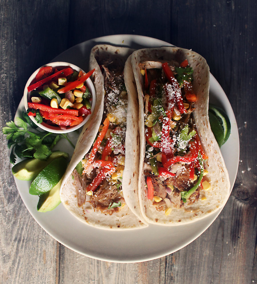 Easy Crockpot Carnitas with Crunchy Bell Pepper Slaw