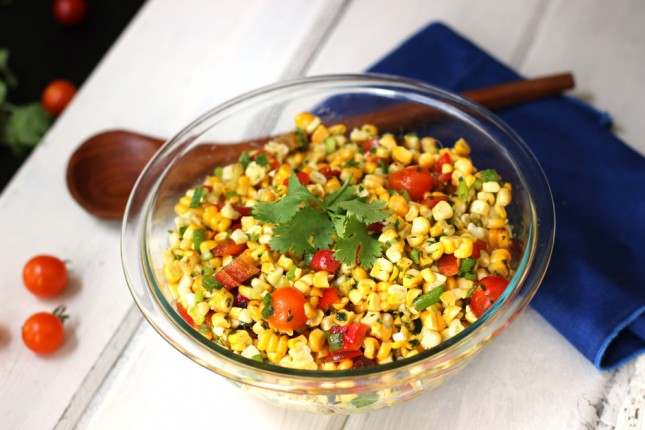 Grilled Corn Salad with Cilantro-Honey-Lime-Vinaigrette | carpéseason