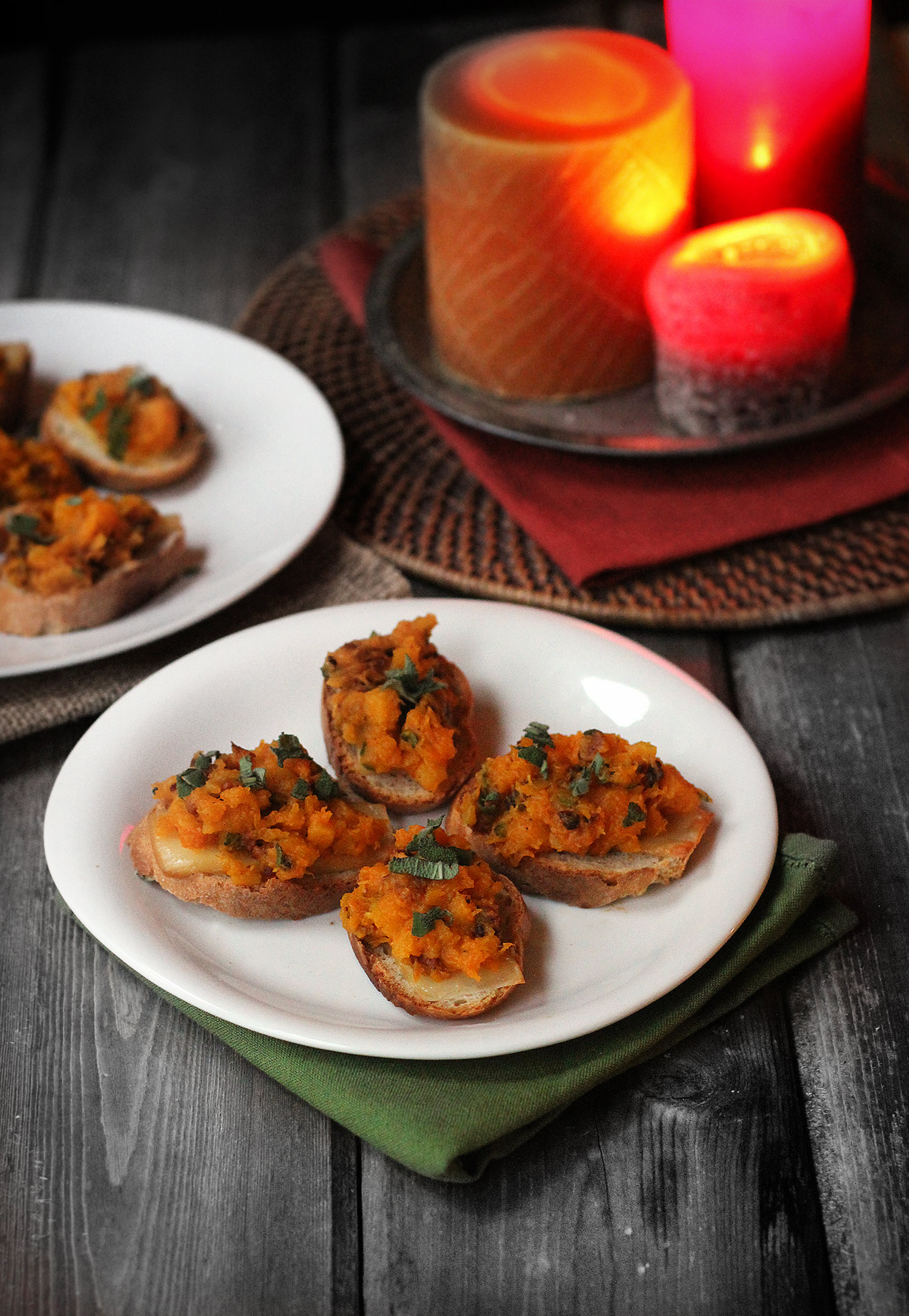 Butternut Squash Bruschetta (with bacon, sage, and gruyere)