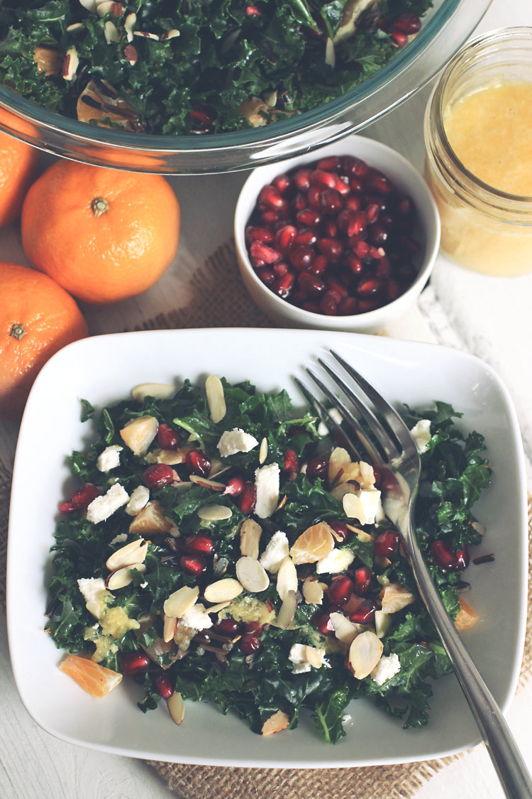 Kale and Fruit-Salad with Orange Ginger Dressing
