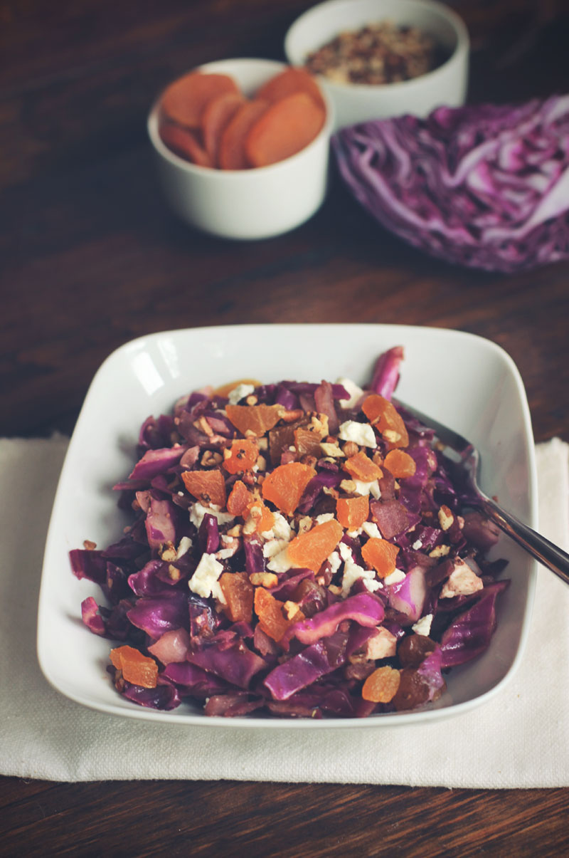 Warm Red Cabbage Salad with Feta, Dried Apricots, and Candied Nuts ...