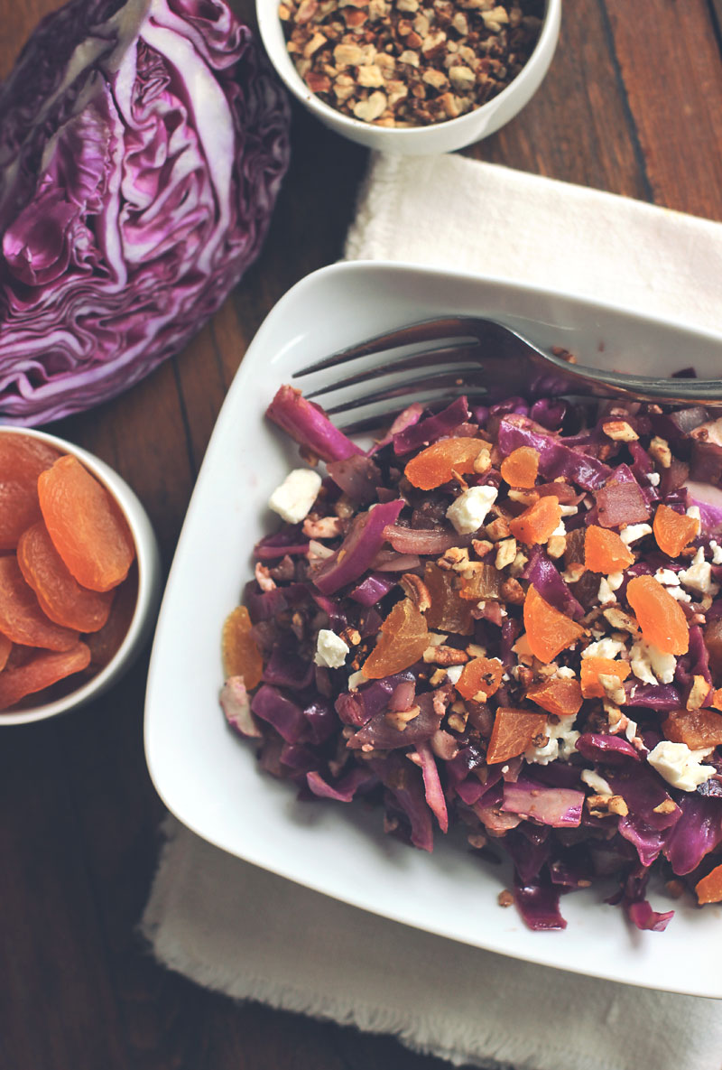 Warm Red Cabbage Salad with Feta, Dried Apricots, and Candied Nuts