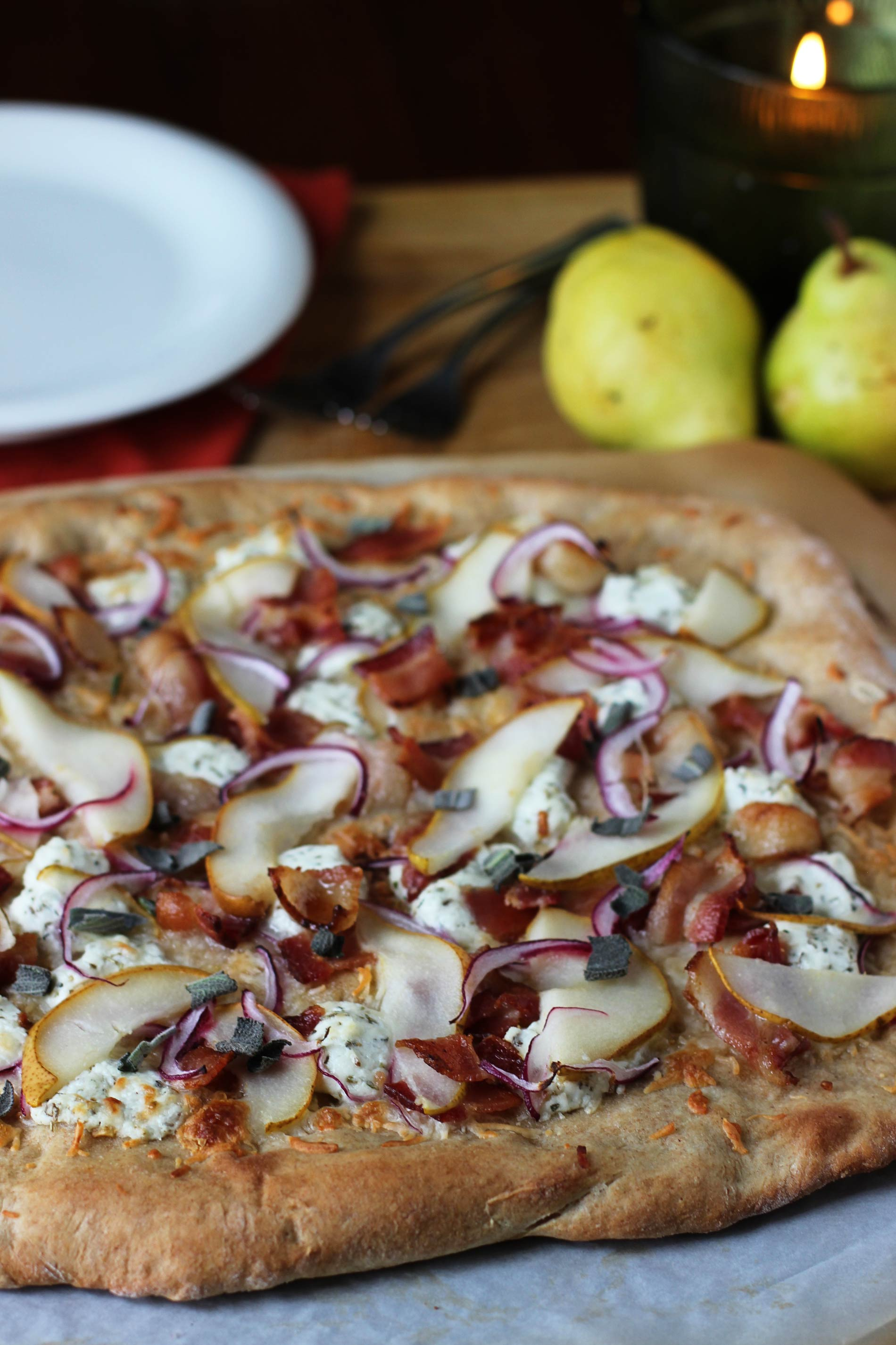 Bacon, Pear, & Goat Cheese Pizza