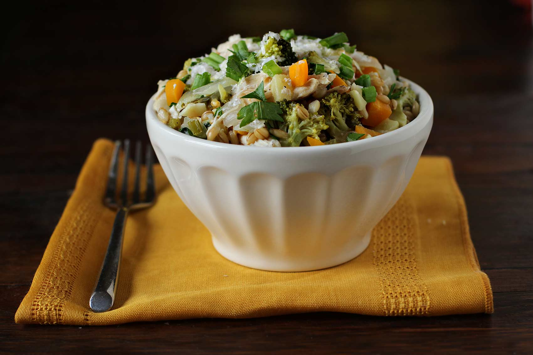 Barley Pilaf with Fall Vegetables & Chicken | Carpé Season