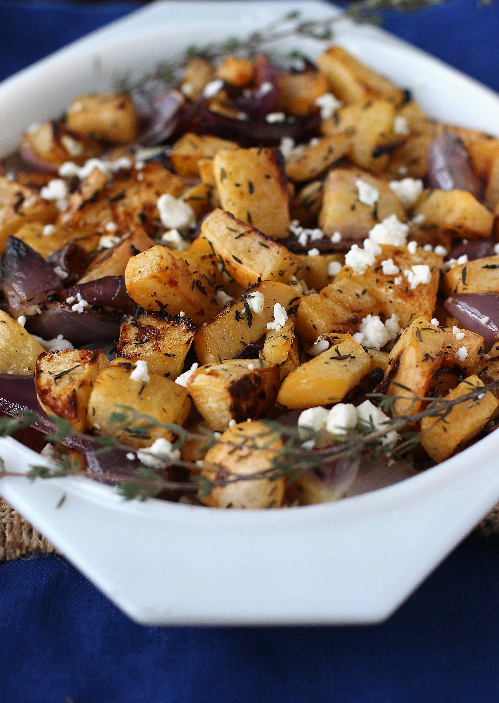 Roasted Turnips with Thyme and Feta