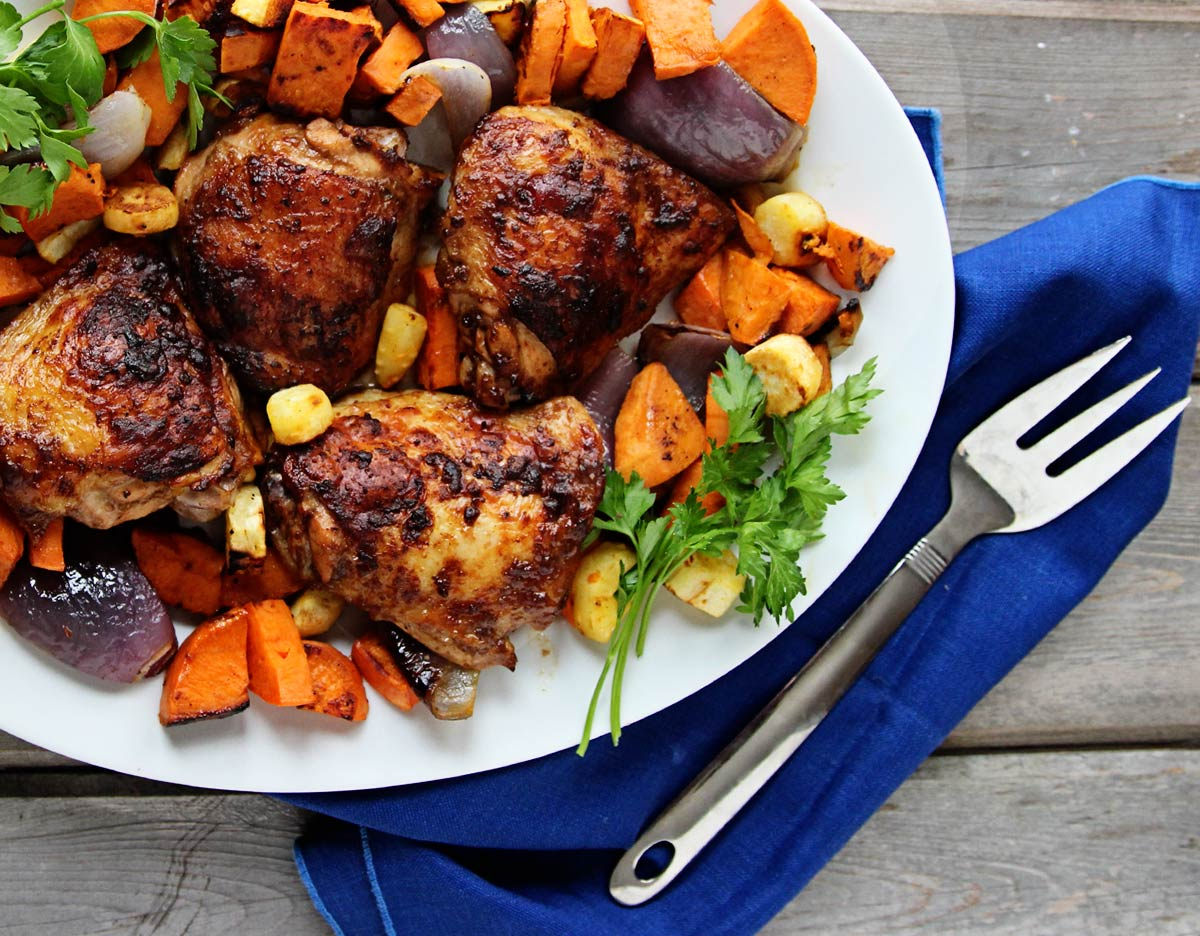 Burnished Chicken Thighs with Roasted Root Vegetables | Carpé Season